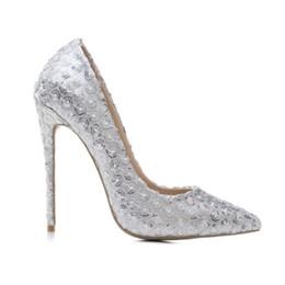$enCountryForm.capitalKeyWord UK - 2019 Elegant Wedding Party Flower Sequined Woman Pumps 12cm Thin Spike High Heels White Glitter Pointed Toe Club Office Ladies Dress Shoes