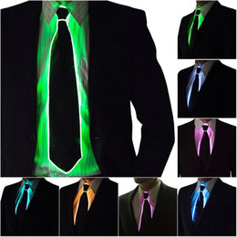 El glow nEon light wirE online shopping - EL Wire Tie Flashing Cosplay LED Tie Costume Necktie Neon Flashing Light Glowing Dance Carnival Party Decoration Cool Activing Props