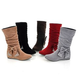 grey suede flats ladies Canada - Hot Sale-Suede Leather Bowtie Winter Mid-calf Boots Women Long Boots For Ladies Height Increasing Mid Calf High Boots Pleated BX579