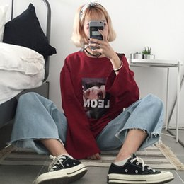 Korean cool girls online shopping - Long sleeved T shirt Female New Loose Korean Style Chic Early Autumn Girls Cool Clothes on The Port Smell Lazy