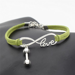 $enCountryForm.capitalKeyWord Canada - Green Leather Suede Wrap Bracelets Silver Color Infinity Love Barbell Dumbbell Sport Fitness Superior Charm Punk Bangles For Women Men Gifts