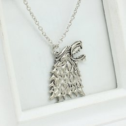 Game Thrones Direwolf Australia - 240pcsPendant Necklaces Chain Jewelry SilverPlated Game of Thrones Stark Direwolf Charm Vintage SilverInspired Necklace ASong of Ice andFire