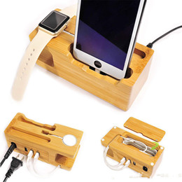 $enCountryForm.capitalKeyWord Canada - factory price Bamboo cell phone watch charging bracket three USB charger desktop charging Stand Organizer for Samsung iPads apple watch