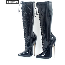 247ace64f1 18cm Black High Heeled Knee Boots Woman Solid Exotic Fetish Sexy Metal Thin Heel  Lace Up Single Soles Women Nightclub Pole Shoes Man