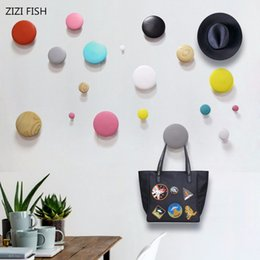 Wooden Wall hangings online shopping - Wall decoration Dot Solid wood Wall hanger hanging Coat rack wooden hook wood Hooks Black walnut Home accessories