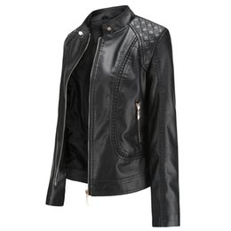 Wholesale Autumn Women Motor Biker Coat Pu Outwear OL Stand Collar Leather Jacket Fall Jacket Black Red