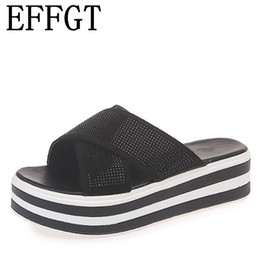 China EFFGT 2019 Summer Woman sandals Platform crystal slippers Wedge Beach Flip Flops High Heel Slippers fashion Ladies Shoes V741 supplier ladies shoes crystals suppliers