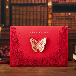 vintage laser cut wedding invitations Australia - Vintage Wedding Supplies China Laser Cut Luxurious Butterflies Wedding Invitations Red Elegant Invitation Paper Cards