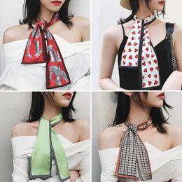 $enCountryForm.capitalKeyWord Australia - Fashion Colorful Small Ribbon Silk Scarf Girls Neckerchief Woman Hair Band Scarf Bag Handle Wraps for Spring and Summer