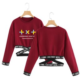 kpop t shirts UK - 2019 Tomorrow X Together T-Shirts TXT korean Summer T shirt crop top women clothes kpop long sleeve Fashion tops streetwear