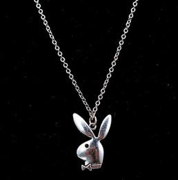 $enCountryForm.capitalKeyWord Australia - 1pcs Antique Silver Rabbit Pendant Creative Handmade DIY Metal Alloy Necklace Gift For Friends A1715