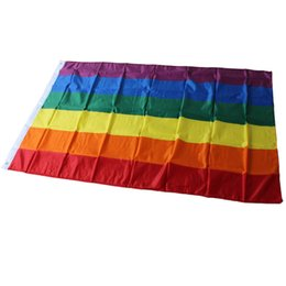 pride flags wholesale 2019 - 90*150cm 3x5FT Rainbow Flag Lesbian Gay Pride Polyester Banner Flag Polyester LGBT Flag Banner for Decoration ZC1411 che