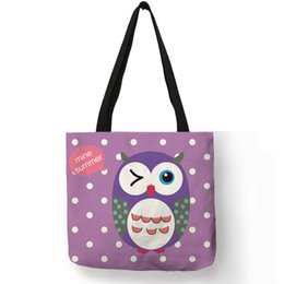 $enCountryForm.capitalKeyWord Australia - Lovely Cartoon Blink Owl Printing White Dot Tote Bag Daily Office School Casual Hand Bags Linen Purple Red Green Shoulder Bag