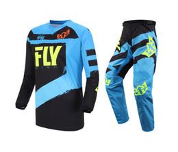 Venta al por mayor de Nuevo 2019 Fly Fish Racing Blue F-16 Jersey Conjunto combinado de pantalón MX / ATV / BMX / MTB Riding Gear Adult Racing Gear Set
