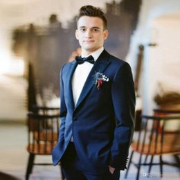 Three Piece Suit Bow Australia - 2019 Peaked Lapel Formal Grooms One Button Wedding Tuxedos Men Groomsmen Suits Three Pieces Prom Formal Suit (Jacket+Pants+Bow)