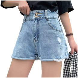 $enCountryForm.capitalKeyWord Australia - Summer Hot Vintage High Waist Denim Shorts Women Double Metal Button 2019 Korean Style Casual Shorts Jeans Short Pants Women