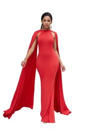 wholesale maxi evening dresses UK - 2019 new Women Stylish Maxi Dresses Skinny Airfoil Bat Sleeve Evening Dress African Ethnic Style Pure Color High Waist Slim Long Skirt