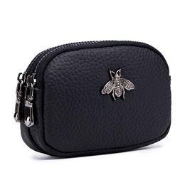 $enCountryForm.capitalKeyWord UK - Mini Wallet Pocket Coin Bag Double Zipper Coin Purse Porte Monnaie Femme Coin Women Wallet Genuine Leather Portamonete
