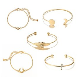 $enCountryForm.capitalKeyWord UK - New Vintage Moon Round Disc Leaf Diamond Cross Adjustable Open Bracelet 5 Piece Set for Women Girl Jewelry