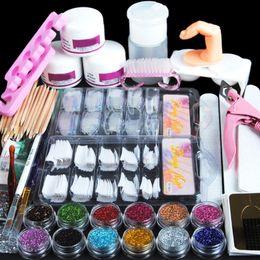 Ingrosso Acrilico Nail Art Manicure Kit 12 Colore Glitter Polvere Decorazione Pennello Pennello Pennello False Finger Pump Tools
