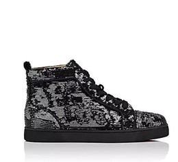 $enCountryForm.capitalKeyWord UK - Wholesale Fashion 2018 black glitter Men Brand Designer Red Bottoms Shoes High Top Genuine Leather Casual Flat Margiela Sneakers big size 47