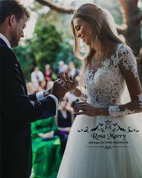 $enCountryForm.capitalKeyWord Australia - Modest Plus Size Long Sleeves Wedding Dresses 2020 A Line Illusion Vintage Lace Crystals Country Beach Hippie Vestido De Novia Bridal Gowns