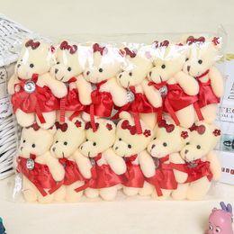 Mini Bear Bouquet Australia - Wholesale 12PCS lot 12CM Bear Lovely Girls Plush Toy Doll Stuff&plush Mini Bouquets Bear Toy For Promotional Gift