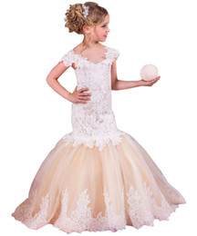 Kids Graduation Clothes Australia - Kids Clothing Cap Sleeves V Neck Mermaid Lace Appliques Flower Girl Dresses
