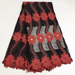 guipure lace fabric wholesale UK - Hot Selling Free Shipping 5 yards Fuchsia black red color African Heavy Cord Lace Fabric Guipure Lace Fabric For Party Dress