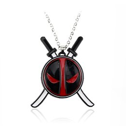 Men knife pendant online shopping - Hot Sale Deadpool Necklace Superhero Logo Pendant Alloy Necklace Two Knives Personality Jewelry For Men Women Gift