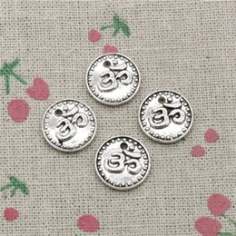 Yoga Charms Australia - 63pcs Charms double sided yoga om 15mm Tibetan Silver Vintage Pendants For Jewelry Making DIY Bracelet Necklace