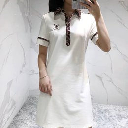 M nets online shopping - 20190502 Medium and Long Dresses with Short Sleeves Printed with the Same Alphabet in Net Red