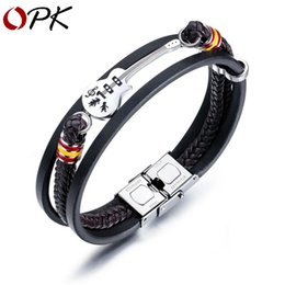 Wholesale american guitars for sale – custom OPK European and American Punk Men s Leather Bracelet Men s Guitar Bracelet Multi layer Braided Leather Rope Send Boys