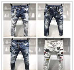 italy jeans brands NZ - 2019 New Arrival Top Quality Brand Designer Men Denim Jeans Embroidery Pants Fashion Holes Trousers Italy size 44-54