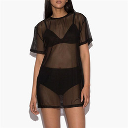Robes Wholesalers UK - Women Dress Soft Pullover Boho Blouse Casual Black Mesh Beach Cover Up Top 2019 Sexy New Hot Sale Summer robe femme ropa mujer