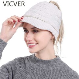 af948ce3f08 Ponytail Beanie Hat Winter Messy Bun Holey Hats Women Knitted Warm Caps  Skullies Beanies Cap For Ladies Soft Woolen Crochet Hat