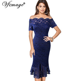 454d6262c83d1 Vfemage Women Off Shoulder Vintage Floral Lace Pinup Formal Cocktail Wedding  Party Bodycon Mermaid Pencil Wiggle Midi Dress 980 T190601
