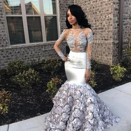 $enCountryForm.capitalKeyWord Australia - Silver Lace 3D Floral Mermaid Prom Gowns Pageant Dresses with Long Sleeve 2019 Sheer Neck Sexy African Trumpet Evening Wear Gown