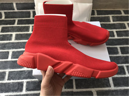 Pointed blue flat shoes online shopping - 2018 Luxury Designer Shoes Speed Trainer Black Red Triple Black Flat Fashion Socks Boots Sneaker Speed Trainer shoes