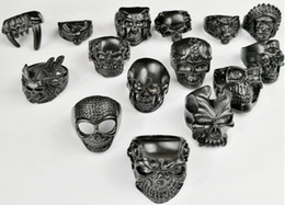 bezel bulk NZ - Hot sale Mixed style Mixed size Gothic Skull Rings Men's Black Skull Ring Punk Rings For Men s Fashion Jewelry in Bulk