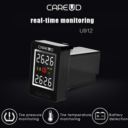 real time display UK - Car Wireless TPMS Tire Pressure Monitoring System Real-time Built-in Sensor LCD Display Embedded Monitor For CAREUD U912