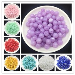 Wholesale 6 mm Acrylic Clouds Beads Effect Round BEADS Spacer Loose Beads Craft DIY many colors on Sale