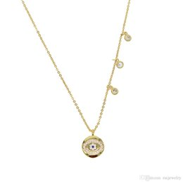 $enCountryForm.capitalKeyWord Australia - New fashion round necklace inlay hamsa LUCKY evil eye pendent necklace gold filled Cubic zirconia cz fashion classic eyes jewelry