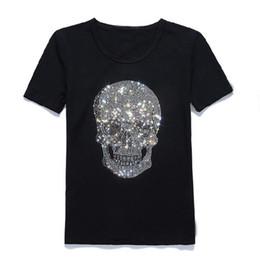 Discount men rhinestone t shirts - Mastermind Shining Diamond Rhinestone Skull O-neck Short-sleeve Cotton T-shirt Tee Black
