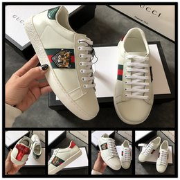 Flat Work Shoes For Women Australia - New Luxury Lace-up Running Shoes Flat Casual Shoes for Men Women Designer Sneakers White Tiger head Genuine Leather Bee Embroidered 36-45