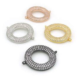 Micro Pave Connectors Australia - 26*22*3mm Micro Pave Clear CZ Ring Charm Connectors Fit For Men And Women Making Bracelets Jewelry