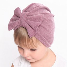 cotton baby girl bonnets NZ - 0-24m Winter Autumn Baby Girl Hat Big Bow Cotton Wool Knitted Thick Warm Baby Hat Kids Newbworn Bonnet Cap Beanie For Girls