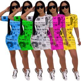 $enCountryForm.capitalKeyWord Australia - Women Vintage Newspaper Print Sexy Sheath Dress Lady Short Sleeve Round Neck Bodycon Mini Dress Night Club Party Above Knee Dress Hot C71106