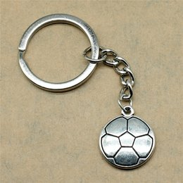 Silver Antiques Australia - 1 Piece Key Ring Soccer Bridesmaid Gift Dropshipping Suppliers 22x19mm Pendant Antique Silver