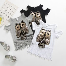 Wholesale 2018 Brand New Toddler Infant Child Kid Casual Sequins Owl Printed Top Baby Girl Tassel T shirt Off Shoulder Cotton Clothes T